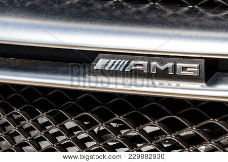 Indianapolis - Circa March 2018: Badge Of An Amg Mercedes-benz. Mercedes-benz Is A Global Automobile