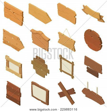 Signpost Road Wooden Icons Set. Isometric Illustration Of 16 Signpost Road Wooden Vector Icons For W