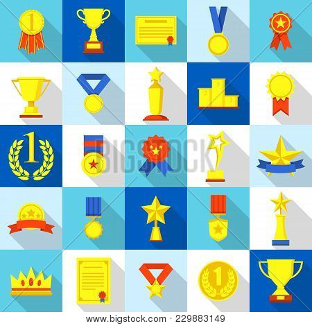 Medal Trophy Award Prize Icons Set. Flat Illustration Of 25 Medal Trophy Award Prize Vector Icons Fo