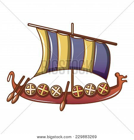 Viking Ship Icon. Cartoon Illustration Of Viking Ship Vector Icon For Web