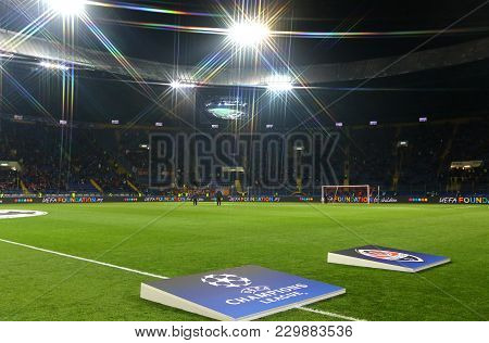Kharkiv, Ukraine - February 21, 2018: Panoramic View Of Osk Metalist Stadium In Kharkiv During Uefa