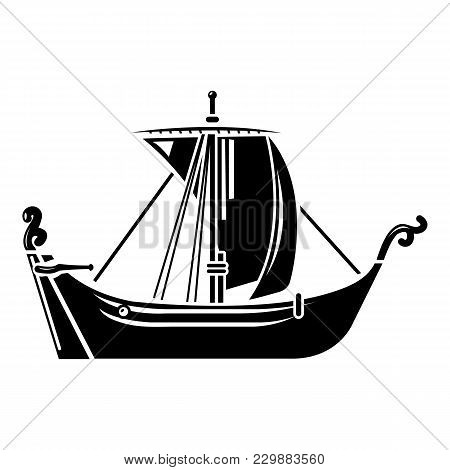 Pirate Ship Icon. Simple Illustration Of Pirate Ship Vector Icon For Web
