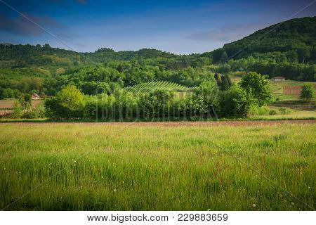 Beautiful Idyllic Rural Landscape With Green Forest, Fields And Meadows. Serb Republic, Bosnia And H