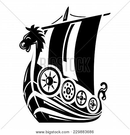 Ancient Ship Icon. Simple Illustration Of Ancient Ship Vector Icon For Web