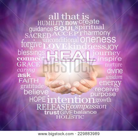 Offering You The Humble Words Of A Healer - Female Cupped Hands Surrounded By A Heal Word Tag Cloud