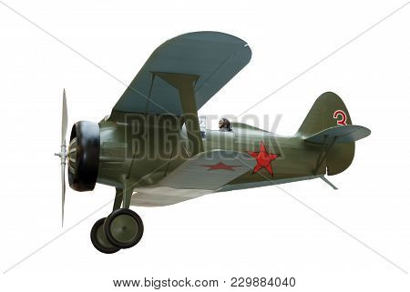 Model Of Piston Biplane Fighter Aircraft Of The 30s Isolated