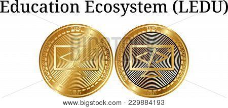 Set Of Physical Golden Coin Education Ecosystem (ledu), Digital Cryptocurrency. Education Ecosystem