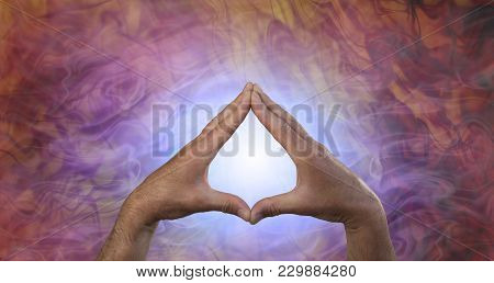 Quantum Healing Energy - male hands creating a leaf shape against a glowing blue light and flowing quantum healing energy field poster