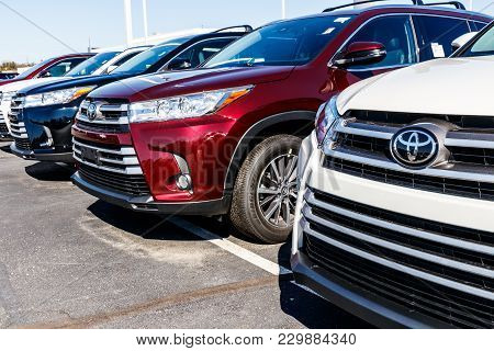 Indianapolis - Circa March 2018: Local Toyota Car And Suv Dealership. Toyota Is A High Quality Japan