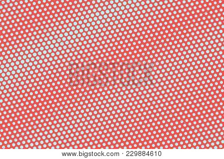Blue And Red Dotted Halftone. Diagonal Rough Dotted Gradient. Half Tone Vector Background. Abstract