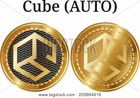 Set Of Physical Golden Coin Cube (auto), Digital Cryptocurrency. Cube (auto) Icon Set. Vector Illust