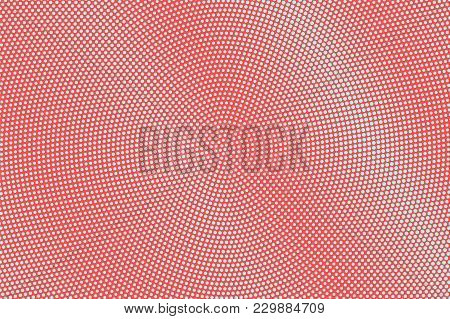 Blue And Red Dotted Halftone. Radial Subtle Dotted Gradient. Half Tone Vector Background. Abstract F