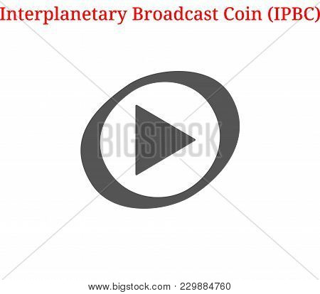 Vector Interplanetary Broadcast Coin (ipbc) Digital Cryptocurrency Logo. Interplanetary Broadcast Co