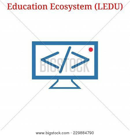 Vector Education Ecosystem (ledu) Digital Cryptocurrency Logo. Education Ecosystem (ledu) Icon. Vect