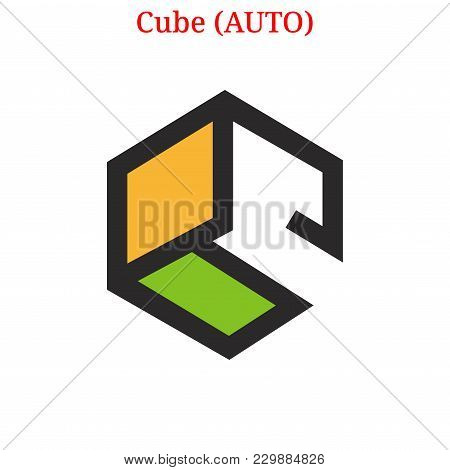 Vector Cube (auto) Digital Cryptocurrency Logo. Cube (auto) Icon. Vector Illustration Isolated On Wh