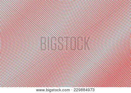 Blue And Red Dotted Halftone. Frequent Grungy Dotted Gradient. Half Tone Vector Background. Abstract