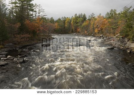 White Water Rushes Through The Penobscot River During The Autumn Season