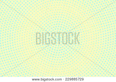 Cyan Yellow Dotted Halftone. Centered Radial Dotted Gradient. Half Tone Vector Background. Abstract