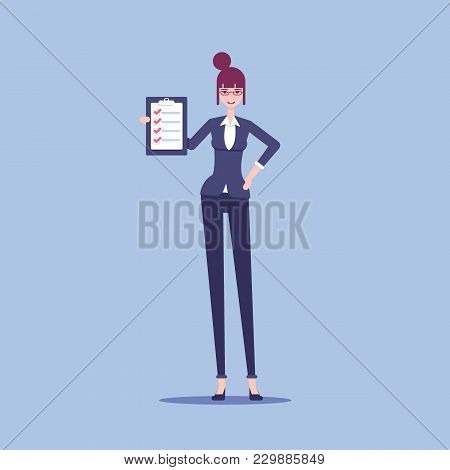 Smiling Businesswoman Holding A Clipboard With A Check List And Marked Items In It Vector Flat Illus