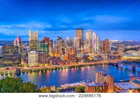 Pittsburgh, Pennsylvania, USA skyline over the Monongahela River.