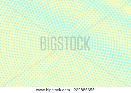 Cyan Yellow Dotted Halftone. Centered Oversize Dotted Gradient. Half Tone Vector Background. Abstrac