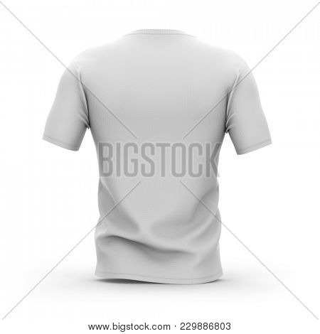 Men's white v-neck t-shirt with short sleeves. Back view. 3d rendering. Clipping paths included: whole object, collar, sleeve.