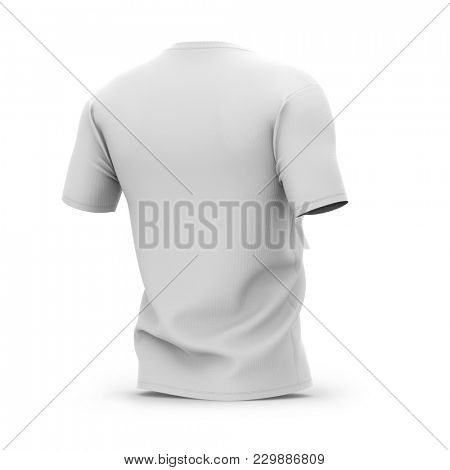 Men's white v-neck t-shirt with short sleeves. Half-back view. 3d rendering. Clipping paths included: whole object, collar, sleeve.