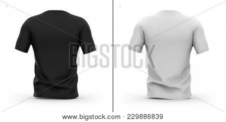 Men's v-neck t shirt with short sleeves. Back view. 3d rendering. Clipping paths included: whole object, collar, sleeve. Shadows and highlights mock-up template.