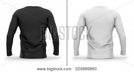 Men's crew neck t shirt with long sleeves. Back view. 3d rendering. Clipping paths included: whole object, collar, sleeve. Shadows and highlights mock-up templates.