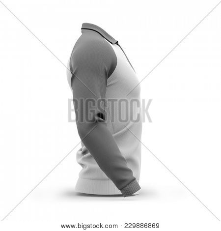 Men's zip neck pullover with raglan sleeves, rubber cuffs and collar. Side view. 3d rendering. Clipping paths included: whole object, collar, sleeve, zipper.