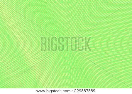 Green Yellow Dotted Halftone. Diagonal Centered Dotted Gradient. Half Tone Vector Background. Abstra