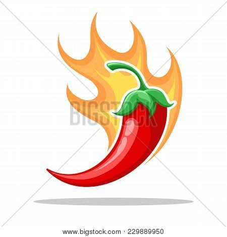 Chilli Fire Pepper. Flamed Spicy Pepper Pod, Burning Red Peppers Icon, Vector Illustration