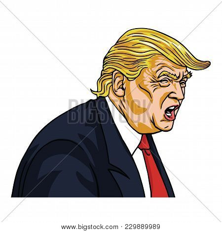 Donald Trump Shouting You`re Fired!. Vector Cartoon Caricature. March 7, 2018