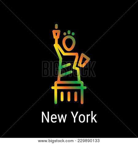 New York, United States Vector Line Icon. New York Landmark - Emblem - Print - Label - Symbol. The S