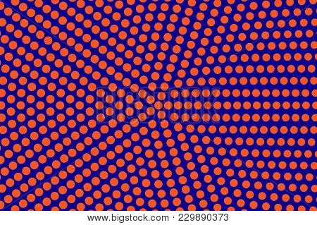 Blue Orange Dotted Halftone. Oversized Radial Dotted Gradient. Half Tone Vector Background. Artifici
