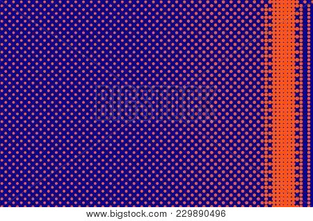 Blue Orange Dotted Halftone. Bordered Dotted Gradient. Half Tone Vector Background. Artificial Textu