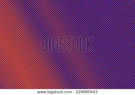 Blue Orange Dotted Halftone. Diagonal Grunge Dotted Gradient. Half Tone Vector Background. Artificia