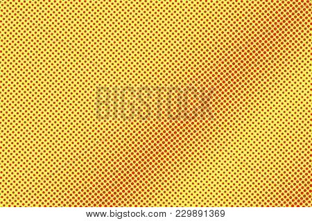 Yellow Red Dotted Halftone. Diagonal Subtle Dotted Gradient. Half Tone Vector Background. Artificial