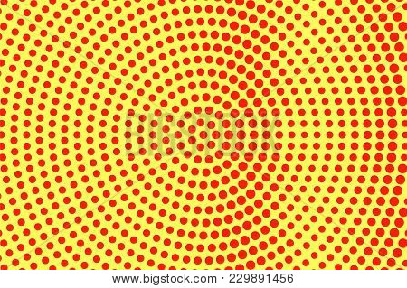 Yellow Red Dotted Halftone. Oversized Radial Dotted Gradient. Half Tone Vector Background. Artificia
