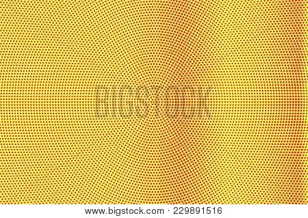 Yellow Red Dotted Halftone. Frequent Vertical Dotted Gradient. Half Tone Vector Background. Artifici