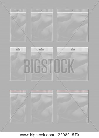Realistic Plastic Pocket Bag Mock Up Set Isolated On Grey Background  Illustration. Blank 3d Model E