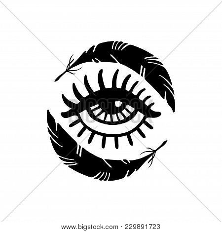 Hand Drawn Eye And Feathers. Doodle Style. Tattoo Design Element.the Third Eye Vector Illustration T