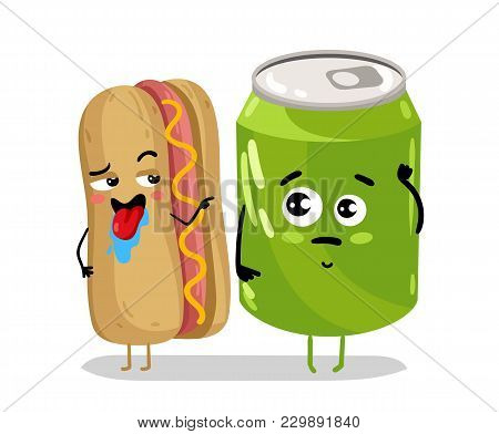 Cute Hot Dog And Soda Can Cartoon Character Isolated On White Background  Illustration. Funny Sandwi