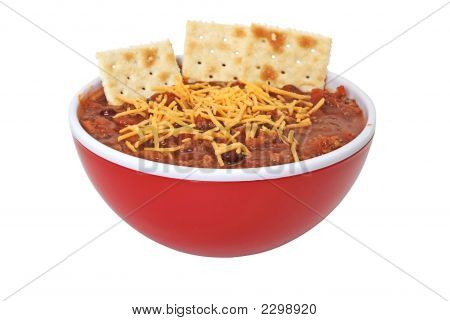 Chili With Cheese, Beans, And Crackers