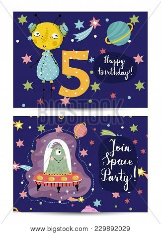 Happy Birthday Cartoon Greeting Card On Space Theme. Cute Aliens On Flying Saucer, Colorful Stars, P