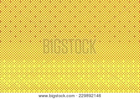 Yellow Red Dotted Halftone. Regular Textured Dotted Gradient. Half Tone Vector Background. Artificia