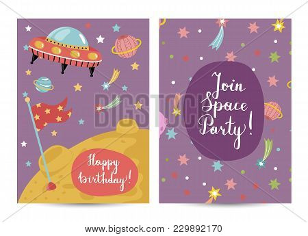 Happy Birthday Cartoon Greeting Card On Space Theme. Alien Spaceship Flying In Cosmos, Stars, Planet