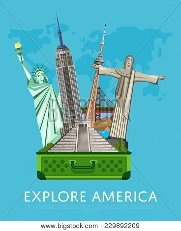 Explore America Banner With Empire State Building, Statue Of Liberty And Others Famous Architectural