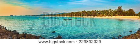 Seascape at sunset time. Beautiful landscape of the Indian ocean. Amazing view. Panorama