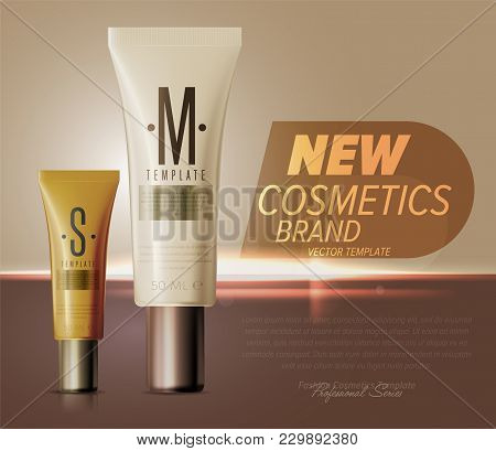 Realistic Face Or Body Care Cosmetic Product Plastic Container Set  Illustration. Cleanser, Lotion,
